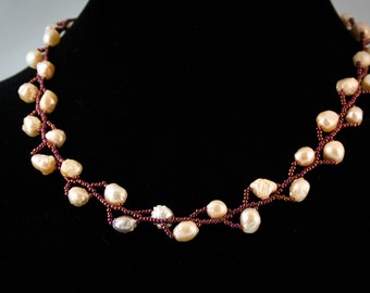 Vine Necklace - Ivory Pearls and Burgundy