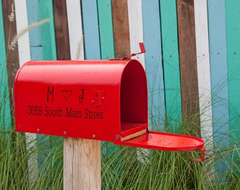 Mailbox Adrress with Intails and Heart Vinyl Decal, Mailbox Decal, Address Decal, Vinyl Decal