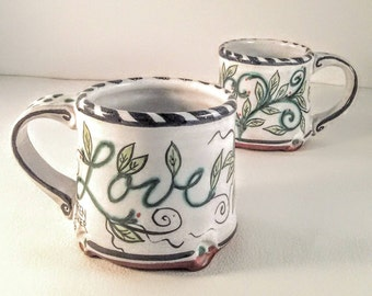 Majolica pottery coffee mug - ceramic tea mug - hand painted - Love - hand made wheel thrown clay