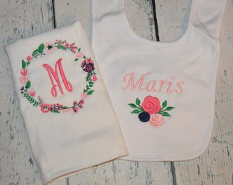 Personalized Flower Bib and Burp cloth Set Monogrammed Baby Girls Set