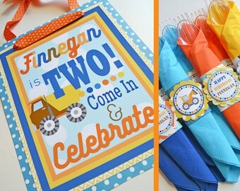 Construction Birthday Party Decorations | Orange Yellow Blue | Fully Assembled Decorations | Construction Party | Construction Birthday