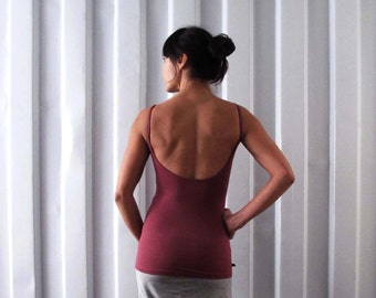 Low back tank - Singlet - Yoga top - yoga clothes - dance wear - athleisure. Plum - Burgundy - Black - Dark grey. Size SM and ML