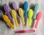 Barbie Vintage Doll Hair Brushes - Accessory - Lot of 10 Barbie Collectible Accessory Brushes Yellows Green Purples Blue Aqua Pinks