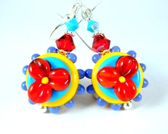 Colorful Funky Flower Dangle Earrings, Bright Color Glass Hippie Earrings, Whimsical Jewelry, Red Turquoise Blue Purple Orange Lampwork