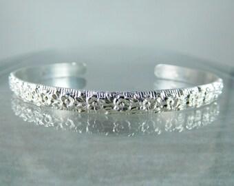 Floral Sterling Silver Cuff Bracelet, 5mm Wide Silver Flower Open Bangle, Layering Bracelet, Everyday Jewelry, Adjustable Stacking Bracelet