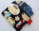 Yui Kokeshi Womens Credit Card Case Zippered Coin Purse Wallet Business Card Holder Japanese Wooden Dolls Fabric Alexander Henry Black Red