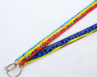 Happy Bugs Stripe Cute and Colorful Womens Lanyard Fabric Lanyard Breakaway Lanyard ID Badge Holder ID Clip Key Ring Fob Primary Colors