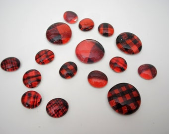 red plaid magnet or push pin set - made from recycled magazines, stocking stuffer, hostess gift, graduation