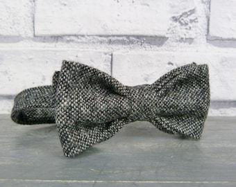 Mens Bow Tie - Black/Grey Tweed