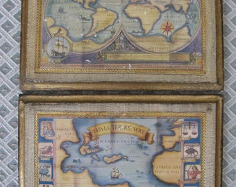 RARE Pair of Italian Florentine Toleware Wood Hanging Pictures World Globe MAPS with Zodiac Signs Made in Italy