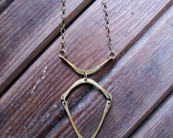 Connections Necklace - Brass Unusual Shapes Necklace - Lightweight Brass Necklace - Artisan Tangleweeds Jewelry