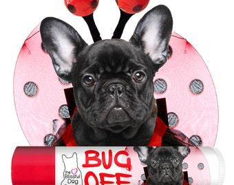 French Bulldog BUG OFF BUTTER All Natural Handcrafted Herbal Insect Balm to Banish Biting Bugs Frenchie Label Options .15 & .50 oz Tubes