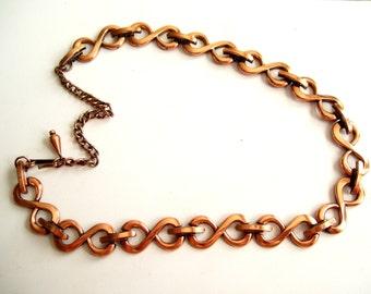Renoir Necklace, Vintage RENOIR Copper Figure 8 Infinity Loop Link Necklace, Renoir Jewelry, Mid Century Copper Jewellery