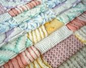 "SALE -Vintage Chenille Bedspread Squares - Pretty Mix- 21-6"""