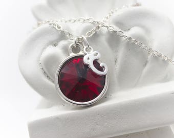 July Birthstone Jewelry, Ruby Red Necklace, Crystal Birthstone Necklace, Personalized Sterling Silver Necklace