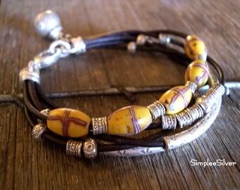 Artisan Jewelry  -  Leather Statement Bracelet  -  African Trade Bead Bracelet  -  Multi Strand Leather Bracelet  -  SimpleeSilver -  Casual
