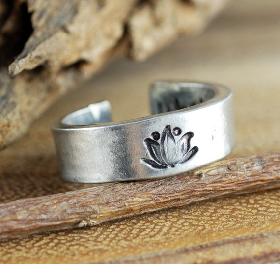 Silver Lotus Ring, Secret Message Ring, Personalized Lotus Flower Ring, Custom Boho Ring, Whatever Makes your soul happy, Yoga Ring
