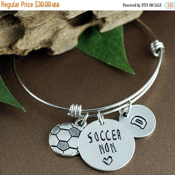 15% OFF SALE Personalized Sports Bracelet, Soccer Mom Bracelet, Mom Jewelry, Mothers Day Gift, Initial Bracelet, Soccer Jewelry, Team Mom Gi