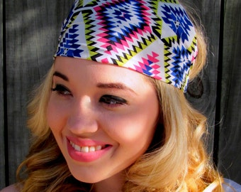 Wide Aztec Tribal Head Wrap Blue Pink Yellow Headband Wide Turband Headband Bohemian Headband