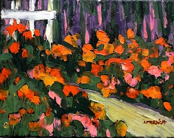 Impressionist Oil Painting NASTURTIUM Garden Path 11x14 Lynne French Art