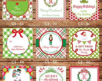 2017 DESIGNS! 24 Square Personalized Christmas / Holiday Enclosure Cards or Gift Stickers - Choose One Design