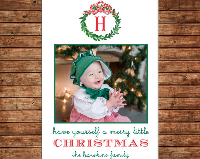 Photo Picture Christmas Holiday Card Watercolor Wreath Bow Monogram Merry Little Christmas - Digital File