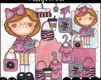 Polly In Pink Clipart Collection - Immediate Download