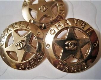 Summer Sale!!!! Set of 3 CHANEL Paris Star Gold Color Metal Buttons ,23 mm