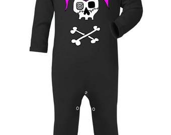 Rockabilly Girl Skull Baby Sleep suit, Alternative, Punk, Rocker, Rockabilly, Goth