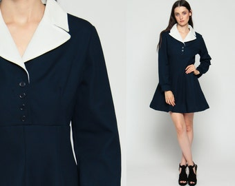 Babydoll Dress 70s Mod Mini Navy Blue 60s Empire Waist White Collar 1970s Button Up Vintage Long Sleeve Twiggy Medium