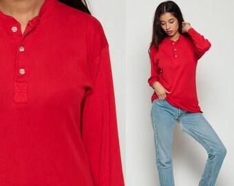 Red Shirt Long Sleeve Shirt POLO Shirt Henley T Shirt 90s Grunge Tshirt Under Shirt Hipster Retro Tee Vintage Normcore Plain Medium
