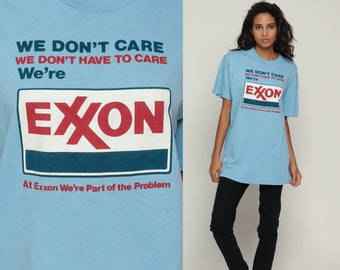Graphic T Shirt EXXON We're PART Of The PROBLEM Protest 80s Environmental Political Tshirt Eco 1980s Vintage Tee Oil Company Large