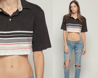Polo Crop Top Striped Shirt 70s Short Sleeve T Shirt Brown Nerd Geek Grunge 80s Hipster Retro Tee Vintage White Red Small Medium