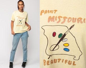 Retro TShirt PAINT MISSOURI BEAUTIFUL T Shirt Vintage 80s Artist Painting Travel Tee Graphic Tshirt 1980s Paper Thin Large