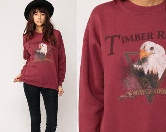 Bald EAGLE Shirt Animal Sweatshirt TIMBER RIDGE 90s Graphic Print Flying Bird Jumper Slouchy Crewneck Burgundy Vintage Medium
