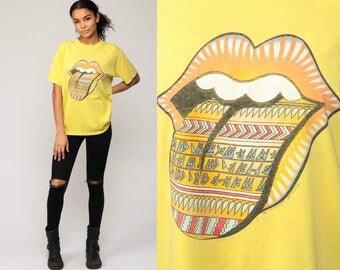 ROLLING STONES Shirt 90s Band Tee TRIBAL Lips Concert Tshirt Bridges To Babylon Rock N Roll Tour T Shirt Vintage 1990s Yellow Large