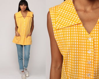 70s Tank Top Checkered Shirt Sleeveless Blouse Yellow Plaid Tunic Top Retro POCKET Button Up Vintage 1970s Twiggy Hipster Extra Large xl