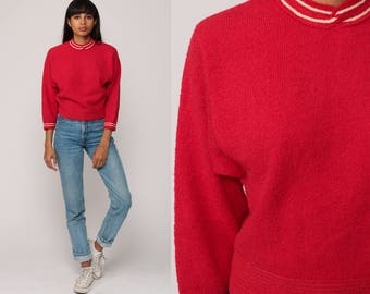 Wool Sweater 60s Sweater Red Pin Up 50s Sweater Rockabilly Pinup Knit Mod 1960s Pullover Hipster Vintage Retro Small Medium