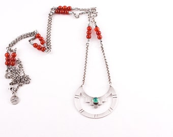 """Eye-catching design of red carnelian beads and light green peridot, a unique boho Mexican inspired opera length necklace - """"Azteca Necklace"""""""
