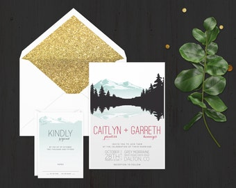 The 'Gemma' Rustic Mountain Wedding Invitation Suite (Sample)
