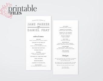 The Calista Modern Typography Wedding Ceremony Program (Printable)