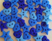 BLUE SHAPES - Micro Mini Hearts Stars Round Dress It Up Craft Buttons