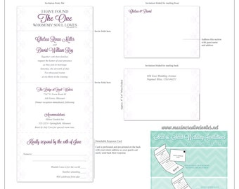 Ornamental Grace Seal and Send Invitation - All In One Invitation - Perforated RSVP Card - Folding Wedding Invitation - Self Mailer Style