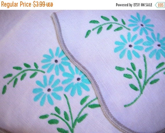 SALE- Two Cute Handpainted Linen Luncheon Napkins, 10 in Square, Turquoise, Green, Beige Background