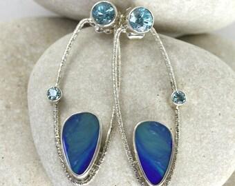 Dangling Modern Blue Opal and Blue Zircon Earrings in Sterling Silver