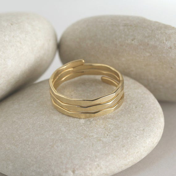 Gold Wrap Ring, Hammered Stacking Ring, yellow or rose gold fill, regular or mid-finger wear