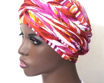 Women- Shades of Pink EZ PZ  Turban Wrap For Short Hair Or Bald Head-  One Size-Ready Wraps- Stretch Turban- Stretch Wraps
