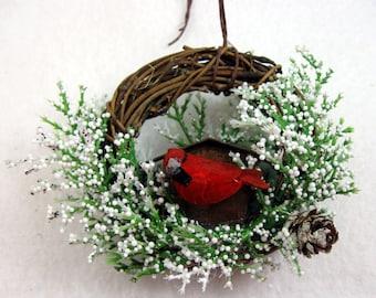Cardinal and Rustic Birdhouse Christmas Ornament 507
