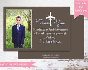 Boys Solid First Communion, Baptism, Dedication Thank You Card - Print Your Own