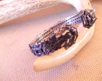 Tribal silver cuff bracelet -- old  jewelry -Dragons -- heavy patina (FREE SHIPPING SALE)